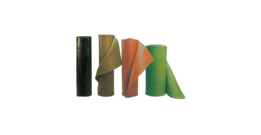 Planchas, pavimentos, cordones y perfiles  de caucho